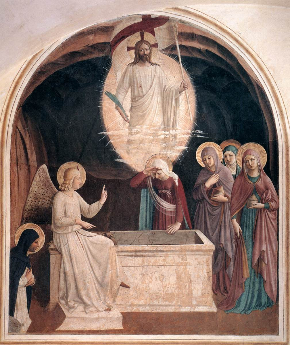 """Fra Angelico - Resurrection of Christ and Women at the Tomb (Cell 8) - WGA00542"" by Fra Angelico (circa 1395–1455) - Web Gallery of Art:   Image  Info about artwork. Licensed under Public Domain via Wikimedia Commons - http://commons.wikimedia.org/wiki/File:Fra_Angelico_-_Resurrection_of_Christ_and_Women_at_the_Tomb_(Cell_8)_-_WGA00542.jpg#/media/File:Fra_Angelico_-_Resurrection_of_Christ_and_Women_at_the_Tomb_(Cell_8)_-_WGA00542.jpg"