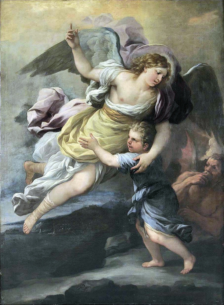 A Guardian Angel protects from a shoulder demon.