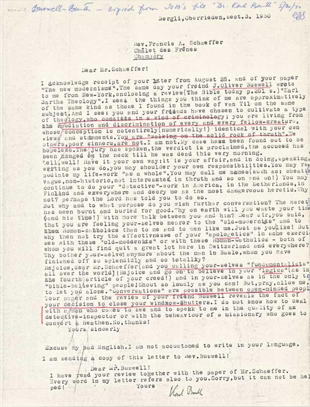 Karl Barth's Letter to Francis Schaeffer (1930)