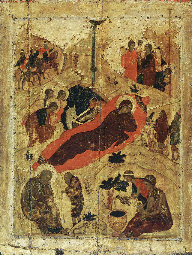 Nativity of the Lord, Icon by St. Andrei Rublev (1405), Cathedral of the Annunciation, Moscow Kremlin.