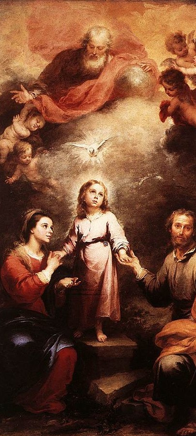 The Holy Spirit depicted as a dove descending on the Holy Family, with God the Father and angels shown atop, by Murillo, c. 1677. (source:wikipedia)