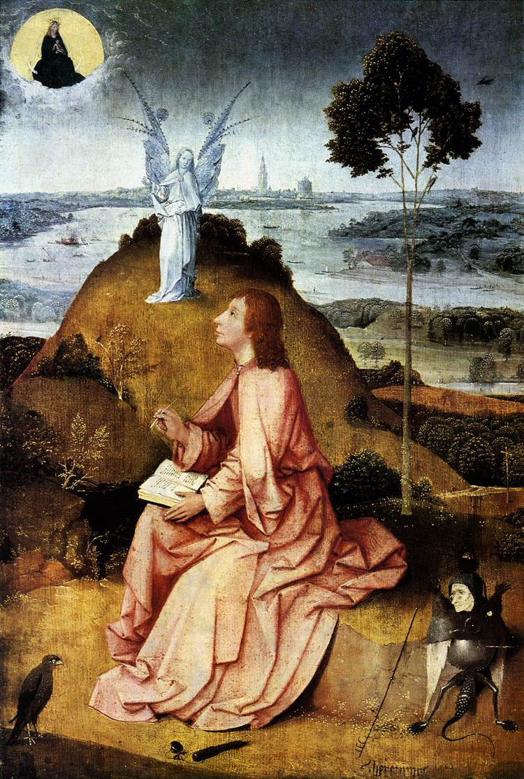 """Johannes op Patmos Jeroen Bosch"" by Hieronymus Bosch (circa 1450–1516) - Web Gallery of Art:   Image  Info about artwork. Licensed under Public Domain via Commons - https://commons.wikimedia.org/wiki/File:Johannes_op_Patmos_Jeroen_Bosch.jpg#/media/File:Johannes_op_Patmos_Jeroen_Bosch.jpg"